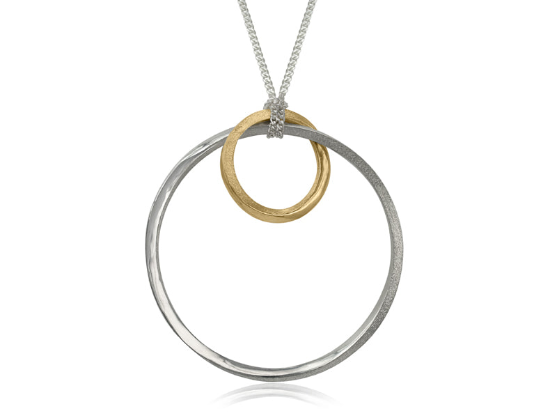 Pamela Lauz Jewellery - Mobius Large Orbit Silver and Bronze Pendant