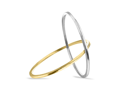 Pamela Lauz - Mobius Silver and Bronze Interlaced Circle Twist Bangles