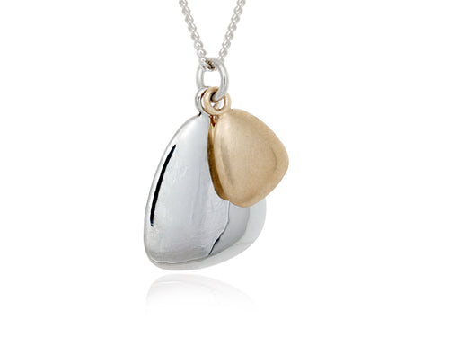 Pamela Lauz  - Terra Duo Pebble Silver and Bronze Necklace