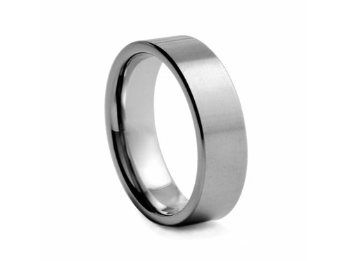 Pamela Lauz Jewellery - Straight Edge Tungsten Wide Band