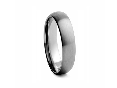 Pamela Lauz Jewellery - Half-round Brushed 6mm Tungsten Band