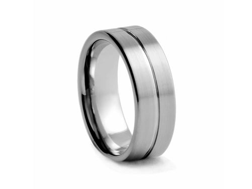 Pamela Lauz Jewellery - Half-round Brushed Tungsten Wide Band