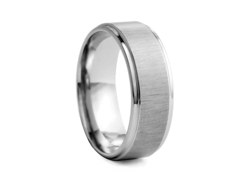 Pamela Lauz Jewellery - Step-cut Polished and Textured Tungsten Band