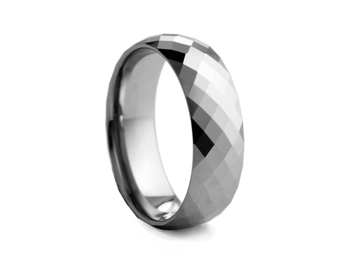 Pamela Lauz Jewellery - Crystal-cut Polished Tungsten Band