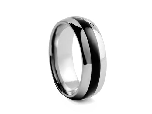 Pamela Lauz Jewellery - Half-round Tungsten Band with Polished Black Inlay