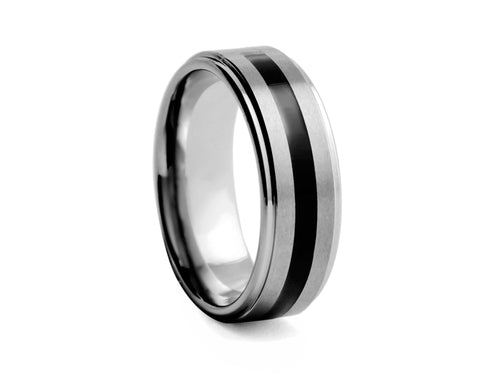 Pamela Lauz Jewellery - Tungsten Band with Polished Black Inlay