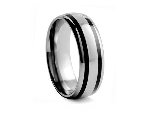 Pamela Lauz Jewellery - Half-round Tungsten Band with Two Black Inlays