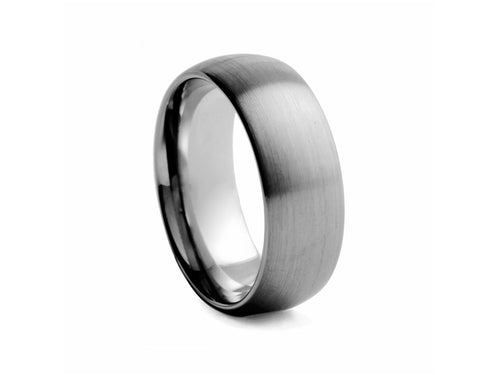Pamela Lauz Jewellery - Half-round Brushed 8mm Tungsten Band