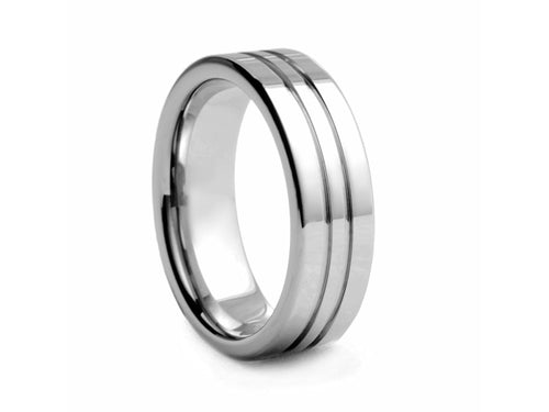 Pamela Lauz Jewellery - Polished Tungsten Band with Two Ridges