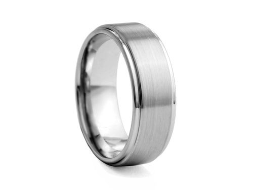 Pamela Lauz Jewellery - Step-cut Satin Tungsten Band