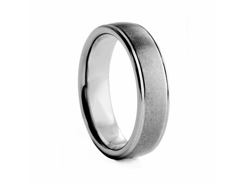 Pamela Lauz Jewellery - Textured Tungsten Band with Polished Edges