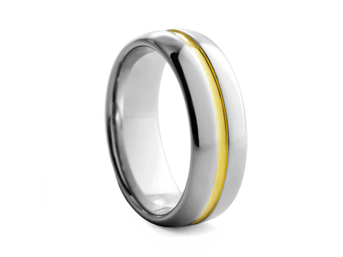 Pamela Lauz Jewellery - Tungsten Band with Gold-plated Ridge
