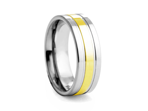 Pamela Lauz Jewellery - Tungsten Band with Gold-plated Centre