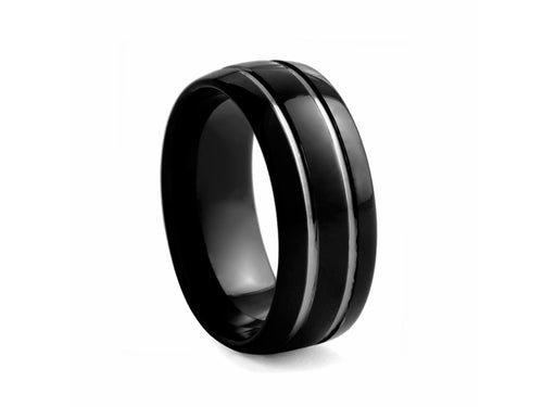 Pamela Lauz Jewellery - Plated Tungsten Band with Two Ridges