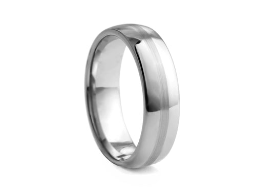 Pamela Lauz Jewellery - Polished Tungsten Band with Textured Centre