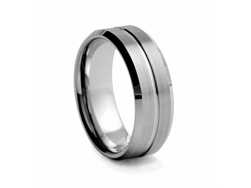Pamela Lauz Jewellery - Satin-finished Tungsten Band with Centre Ridge