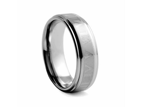 Pamela Lauz Jewellery - Tungsten Band with Roman Numerals