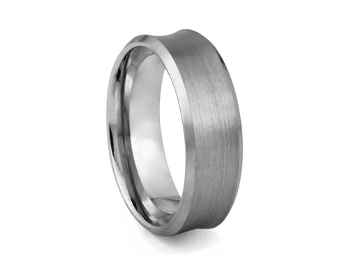 Pamela Lauz Jewellery - Concave Tungsten Band with Polished Edges