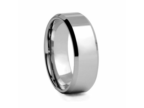 Polished Tungsten Band with Black-plated Inlays