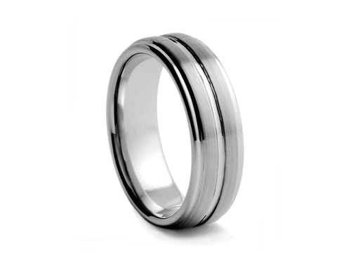 Pamela Lauz Jewellery - Tungsten Band with Centre-Ridge and Step Edges