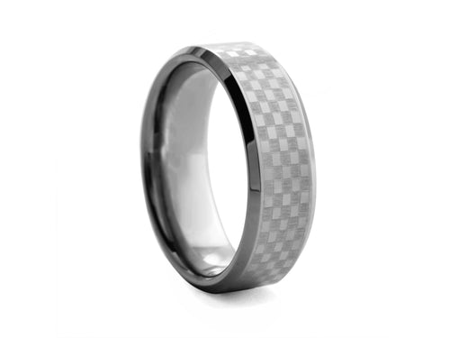 Pamela Lauz Jewellery - Checkerboard Tungsten Band with Bevelled Edges