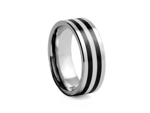 Pamela Lauz Jewellery - Polished Tungsten Band with Black-plated Inlays