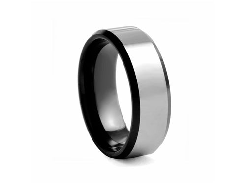 Pamela Lauz Jewellery - Polished Tungsten Band with Black-plated Edges