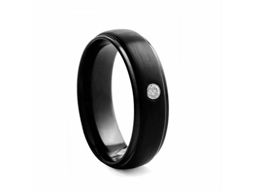 Pamela Lauz Jewellery - Black-plated Tungsten Band with Cubic Zirconia