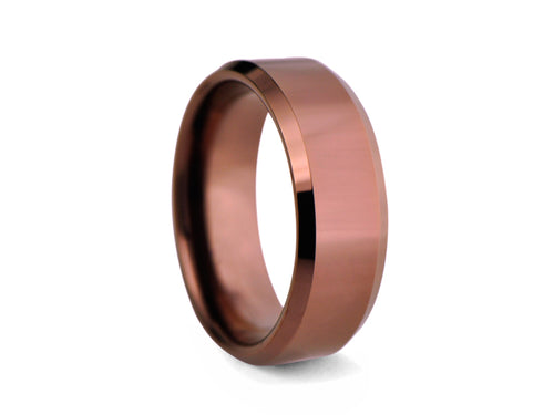 Pamela Lauz Jewellery - Bronze-plated Tungsten Band with Bevelled Edges