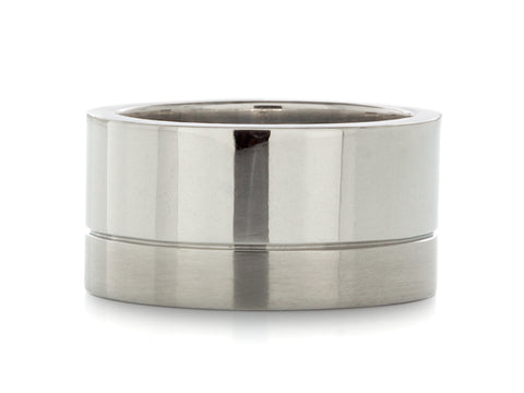 Double Inlay Polished Tungsten Band