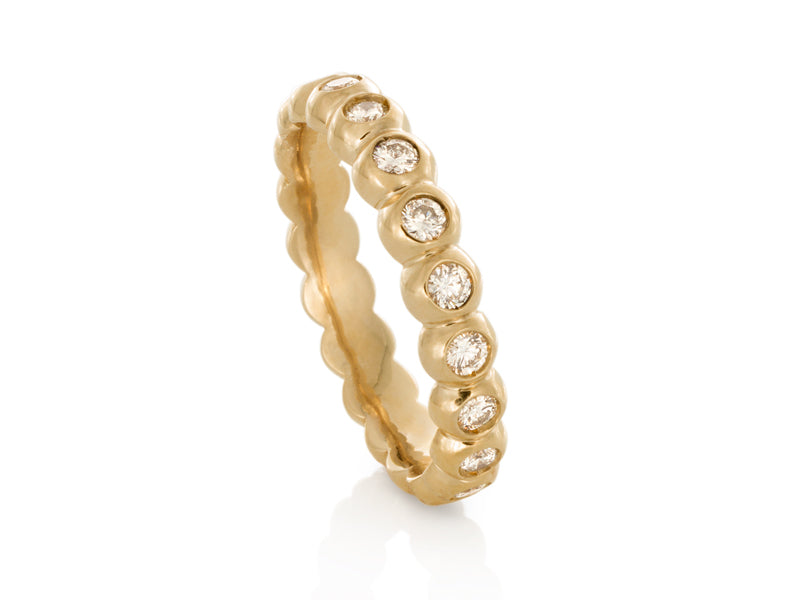 Pamela Lauz Jewellery - Yellow Gold Bezel Diamond Band