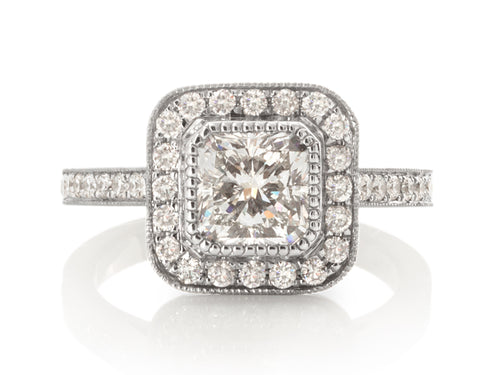 Pamela Lauz Jewellery - Princess-cut Diamond Halo Antique Engagement Ring