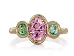Pamela Lauz Jewellery - Pink Spinel and Green Tourmalines Ring