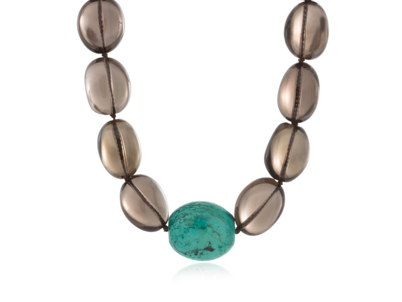 Pamela Lauz Jewellery - Terra Smokey Quartz and Turquoise Necklace