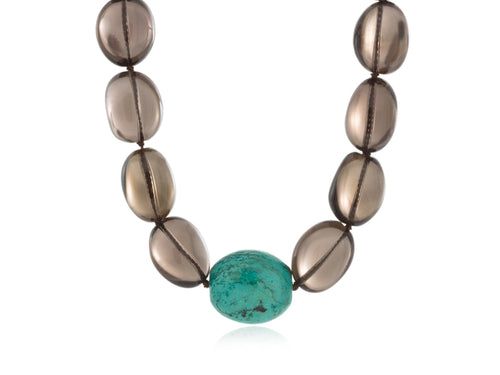 Pamela Lauz - Terra Smokey Quartz and Turquoise Necklace