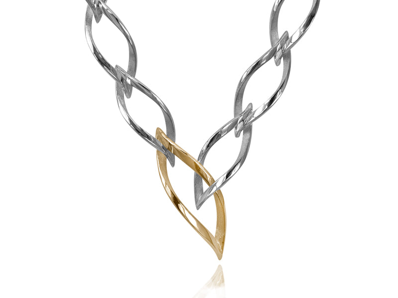 Pamela Lauz Jewellery - Foliage 2-in-1 Silver and Gold Necklace