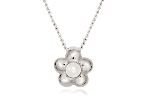 Pamela Lauz - Blossom Dainty White Pearl Flower Necklace