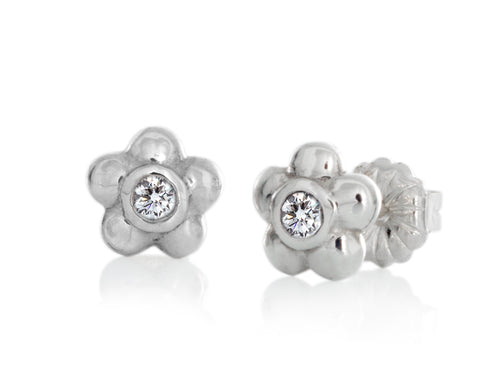 Pamela Lauz - Blossom Dainty Diamond Flower Stud Earrings