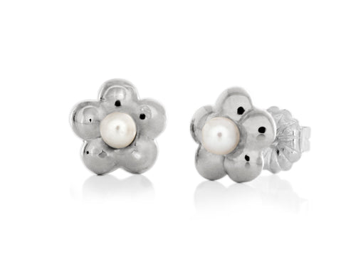 Pamela Lauz - Blossom Dainty White Pearl Flower Stud Earrings