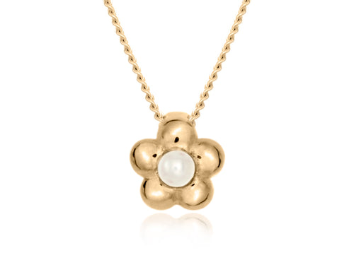 Pamela Lauz - Blossom Dainty White Pearl Gold Flower Necklace