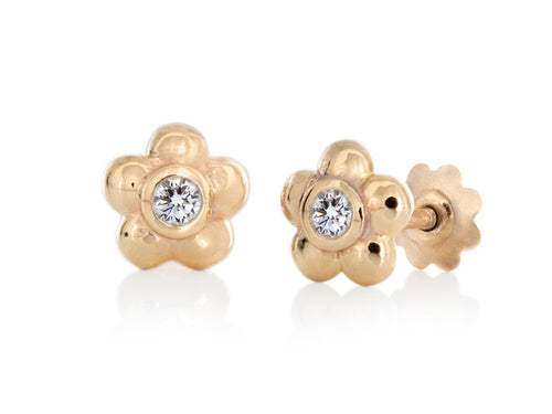 Pamela Lauz - Blossom Dainty Diamond and Yellow Gold Flower Stud Earrings