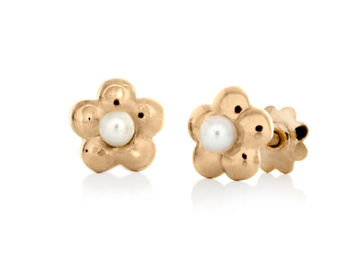Pamela Lauz - Blossom Dainty Pearl Yellow Gold Flower Stud Earrings