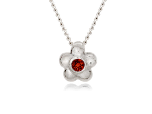 Pamela Lauz - Blossom Dainty Red Garnet Flower Necklace