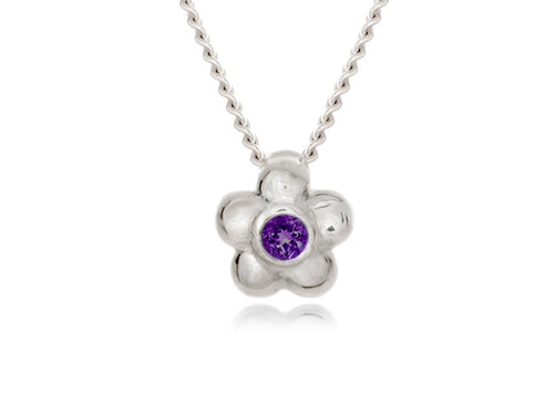 Pamela Lauz - Blossom Dainty Purple Amethyst Flower Necklace