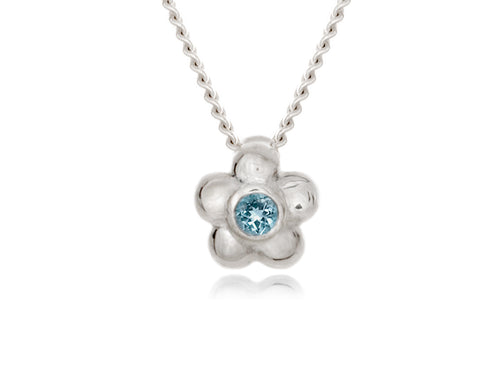 Pamela Lauz - Blossom Dainty Aquamarine Flower Necklace