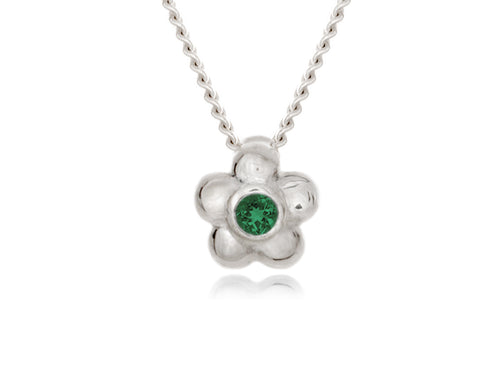Pamela Lauz - Blossom Dainty Green Emerald Flower Necklace