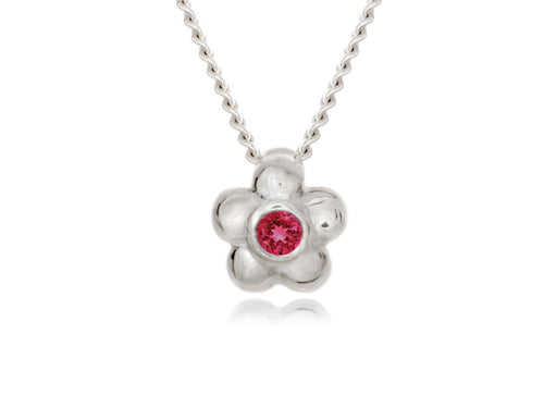 Pamela Lauz - Blossom Dainty Ruby Flower Necklace