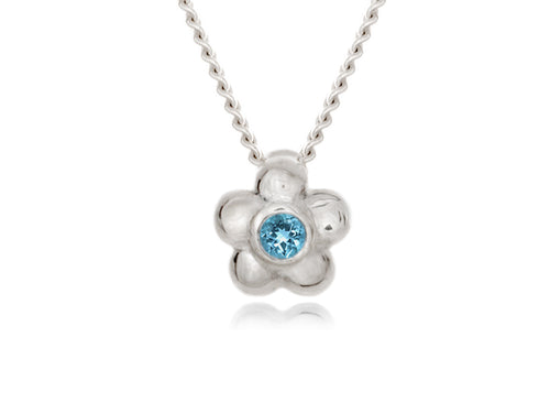 Pamela Lauz - Blossom Dainty Blue Topaz Flower Necklace