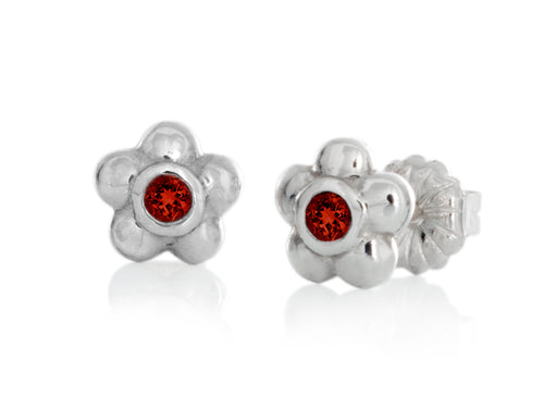 Pamela Lauz - Blossom Dainty Red Garnet Flower Stud Earrings