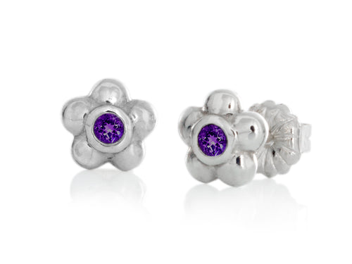 Pamela Lauz - Blossom Dainty Purple Amethyst Flower Stud Earrings